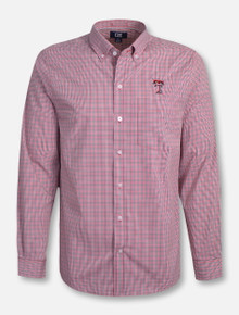"Cutter & Buck Texas Tech ""Casey"" Checkered Long Sleeve Dress Shirt"