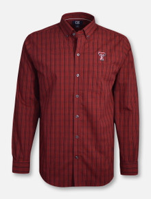 "Cutter & Buck Texas Tech ""Logan"" Plaid Long Sleeve Dress Shirt"