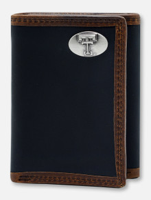 Texas Tech Red Raiders Black and Brown Two-Tone Leather Tri-Fold Wallet with Double T