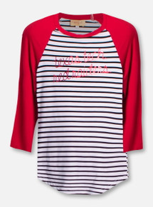 Texas Tech Red Raiders Script Striped YOUTH 3/4 Sleeve Reglan T-Shirt