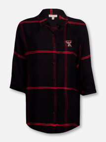 "Texas Tech Red Raiders Double T Boyfriend ""Satin"" Plaid Button Up Shirt"