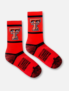 Strideline Texas Tech Red Raiders Double T on Speckled Background Crew Socks