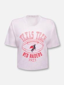 """Retro Brand Texas Tech Red Raiders """"Football"""" Slub Crop Top T-Shirt"""