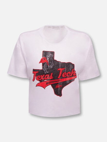 "Retro Brand Texas Tech Red Raiders ""Outline"" Slub Crop Top T-Shirt"