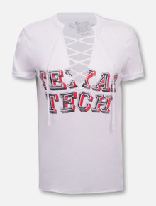 Retro Brand Texas Tech Red Raiders Lace Up V-Neck T-Shirt