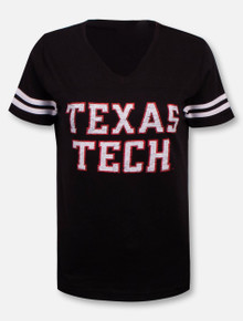 Texas Tech Red Raiders Rugged Football Font V-Neck Jersey T-Shirt