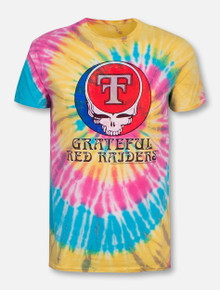 "Retro Brand Texas Tech Red Raiders Throw Back Double T ""Greatful Red Raiders""  Tie Dye T-Shirt"