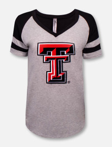Bamboa Texas Tech Red Raiders Double T V-Neck Jersey Shirt with Striped Sleeves