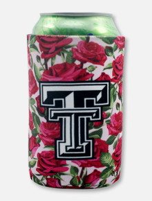 "Texas Tech Black and White Double T ""Roses"" Can Cooler"