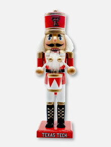 """Texas Tech Red Raiders 10"""" Wooden Nutcracker with Drum"""