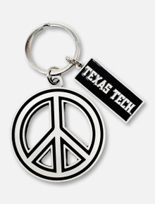 Spirit Products Texas Tech Red Raiders Metal Peace Sign Keychain