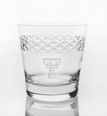"Texas Tech Red Raiders Etched Double T ""Diamond"" Double Old Fashion Glassware"