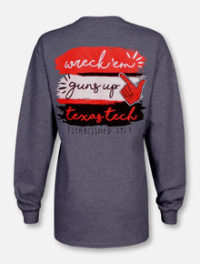 "Texas Tech Red Raiders  ""Paint Brush"" in Team Colors Long Sleeve T-Shirt"