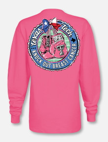 "Texas Tech Red Raiders  Black and White Double T ""Knock Out"" Breast Cancer Long Sleeve T-Shirt"