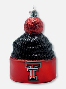 Texas Tech Red Raiders Glass Blown Double T Beanie Ornament