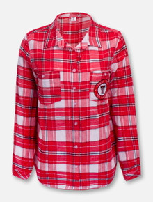 """Texas Tech Red Raiders Double T """"Warm Up"""" Flannel Button Down Blouse"""