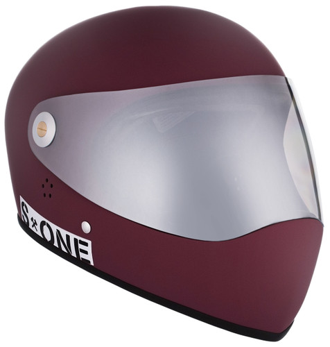 Maroon Matte W/ Mirror Visor   S1 Lifer Full Face Helmet Specs: • Specially formulated EPS Fusion Foam • Certified Multi-Impact (ASTM) • Certified High Impact (CPSC) • 5x More Protective Than Regular Skate Helmets • Deep Fit Design