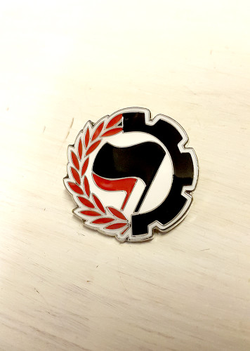 ANTIFA - Anti-Fascist Action - Black/Red - Anarchist Cog Badge
