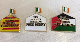 Free Derry Solidarity enamel badges x 3