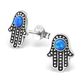 925 Sterling Silver & Blue Opal Hamsa Stud Earrings