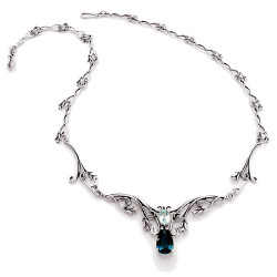 Silver Hawaiian Hibiscus Flower Fairy Necklace with Two Gemstones.