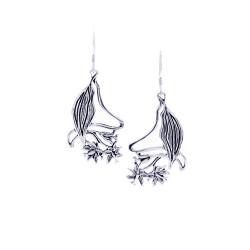 Hibiscus Art Nouveau Silver Earrings
