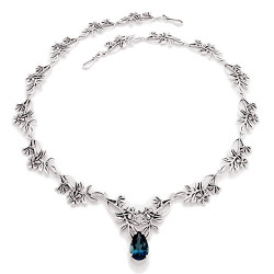 Wildflower Necklace with 3 Carat Gemstone in Sterling Silver
