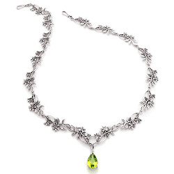 Wildflower Silver Necklace with 3 Carat Dangled Gemstone