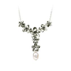 "Plumeria ""Y"" Pendant with a Pearl"