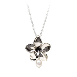 Plumeria Pendant with a Freash Water Pearl | 1″ in Diameter