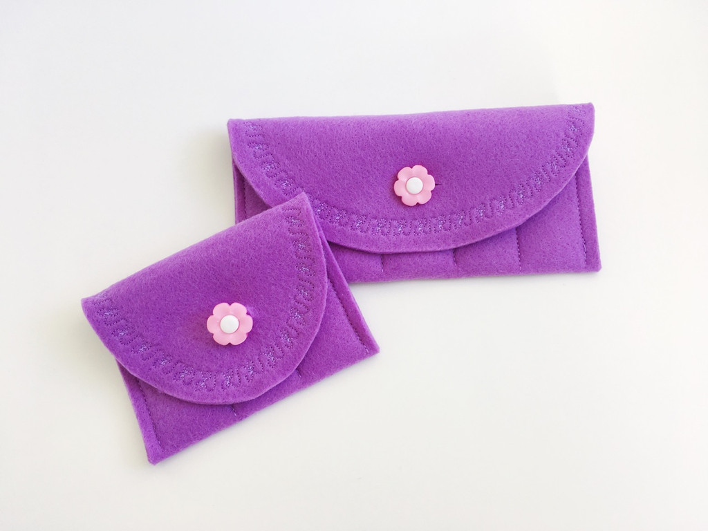 Purple with pink flower button