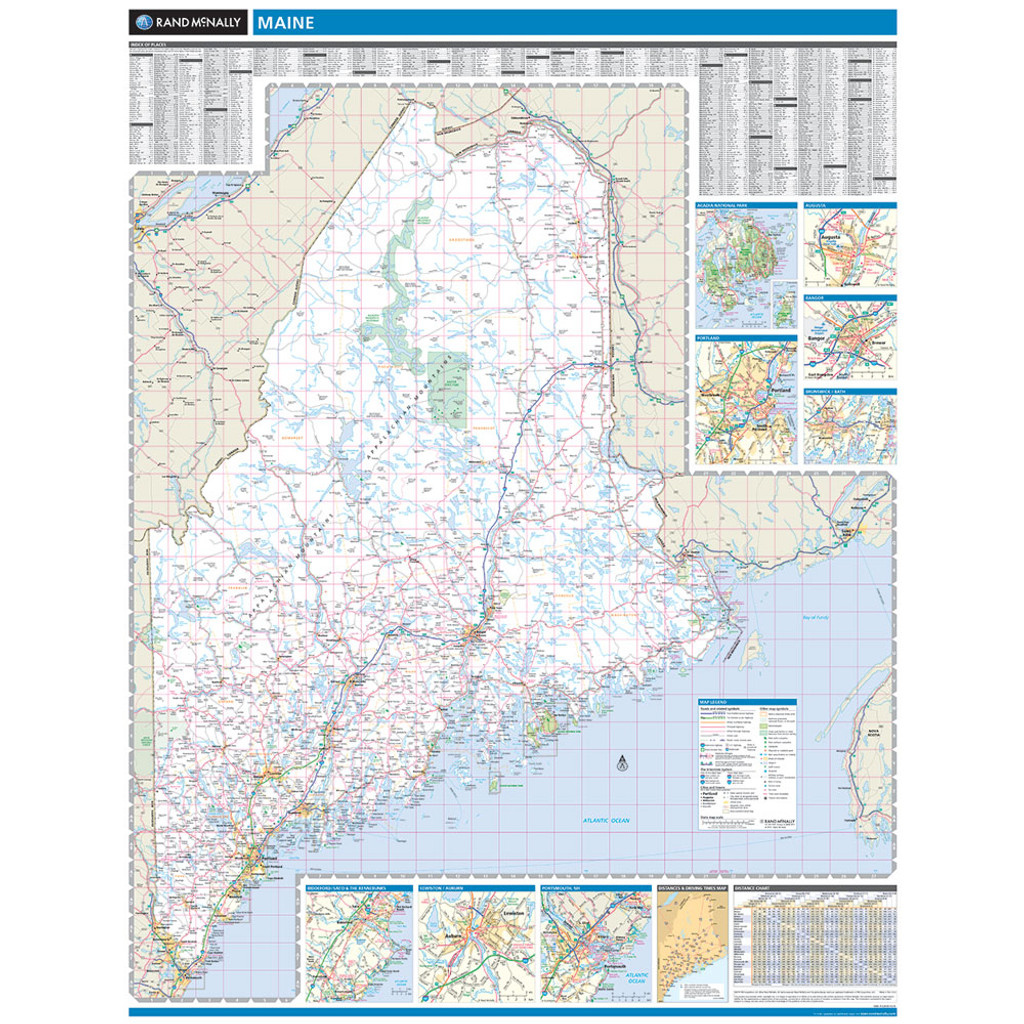 Rand McNally Maine State Wall Map - Maine state map