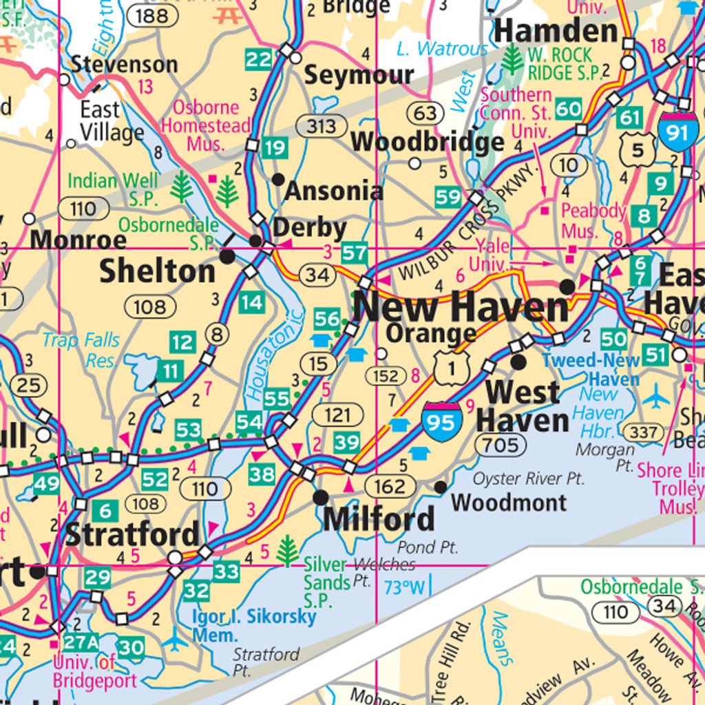 Rand McNally Connecticut State Wall Map - Connecticut state map