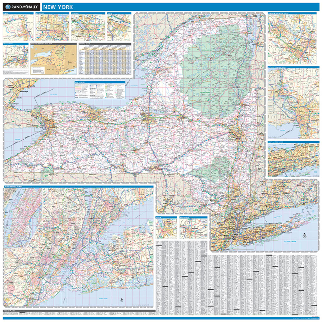 Rand McNally New York State Wall Map - Maps ny state