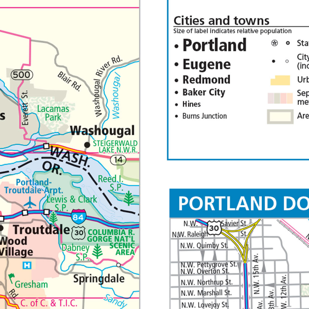 Rand McNally Oregon State Wall Map - Oregon state map with cities