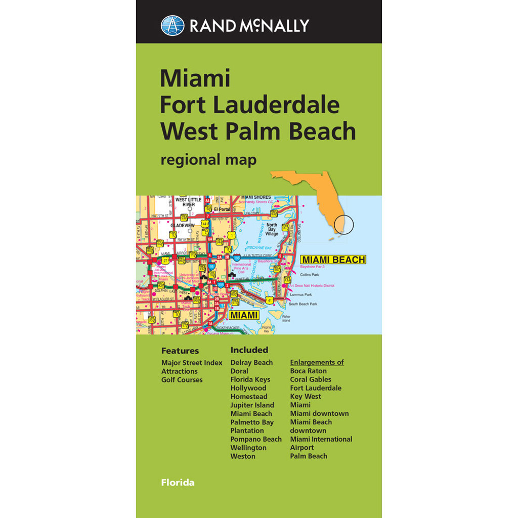 Folded Map: Miami, Fort Lauderdale, and West Palm Beach Regional Map