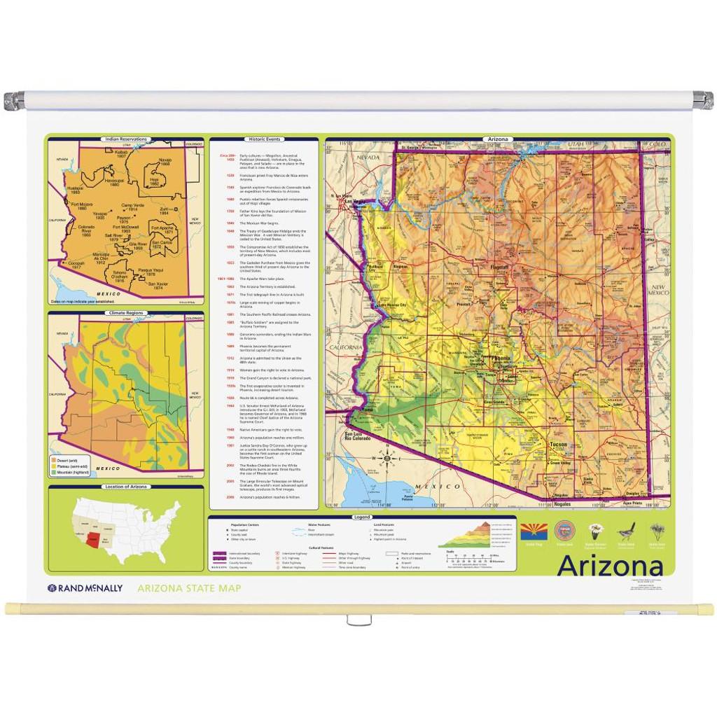 Arizona Physical-Political State Wall Map