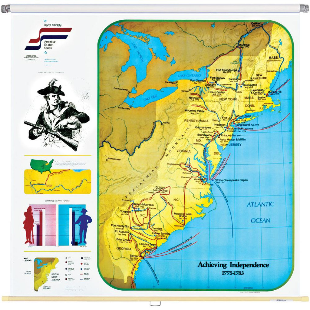 Achieving Independence Wall Map Eastern United States - Us in 1783 map