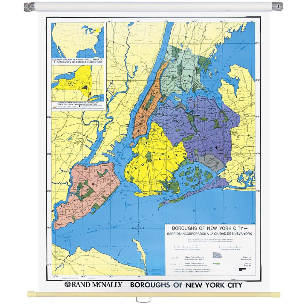 New York City Boroughs Wall Map