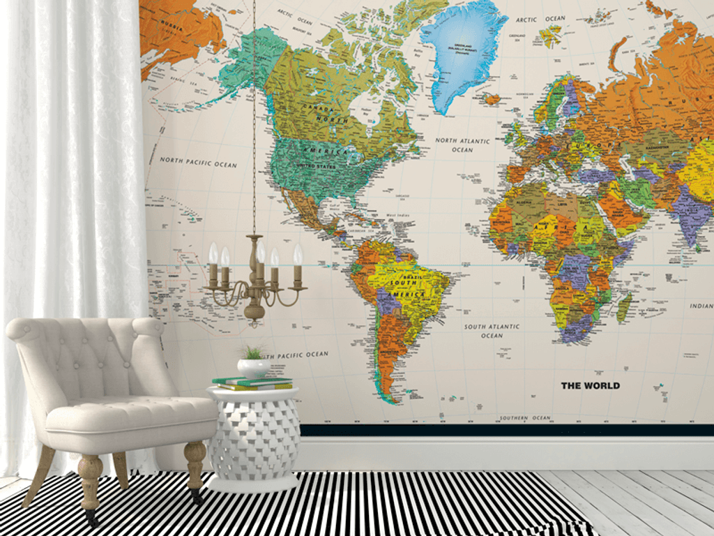 Contemporary World Map Wall Mural
