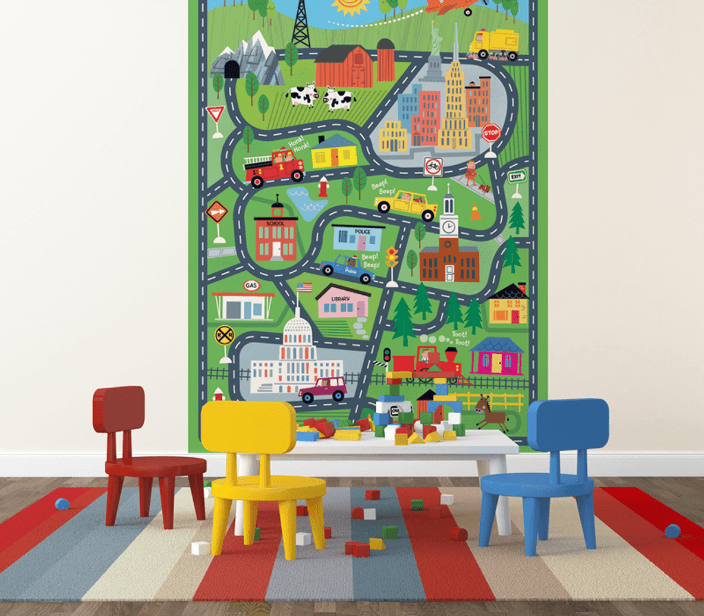 Tiny Town Illustrated Kidsu0027 Wall Mural