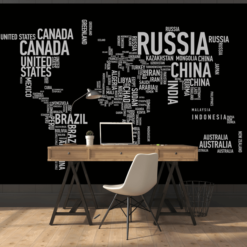 Wordcloud World Map Wall Mural Part 47