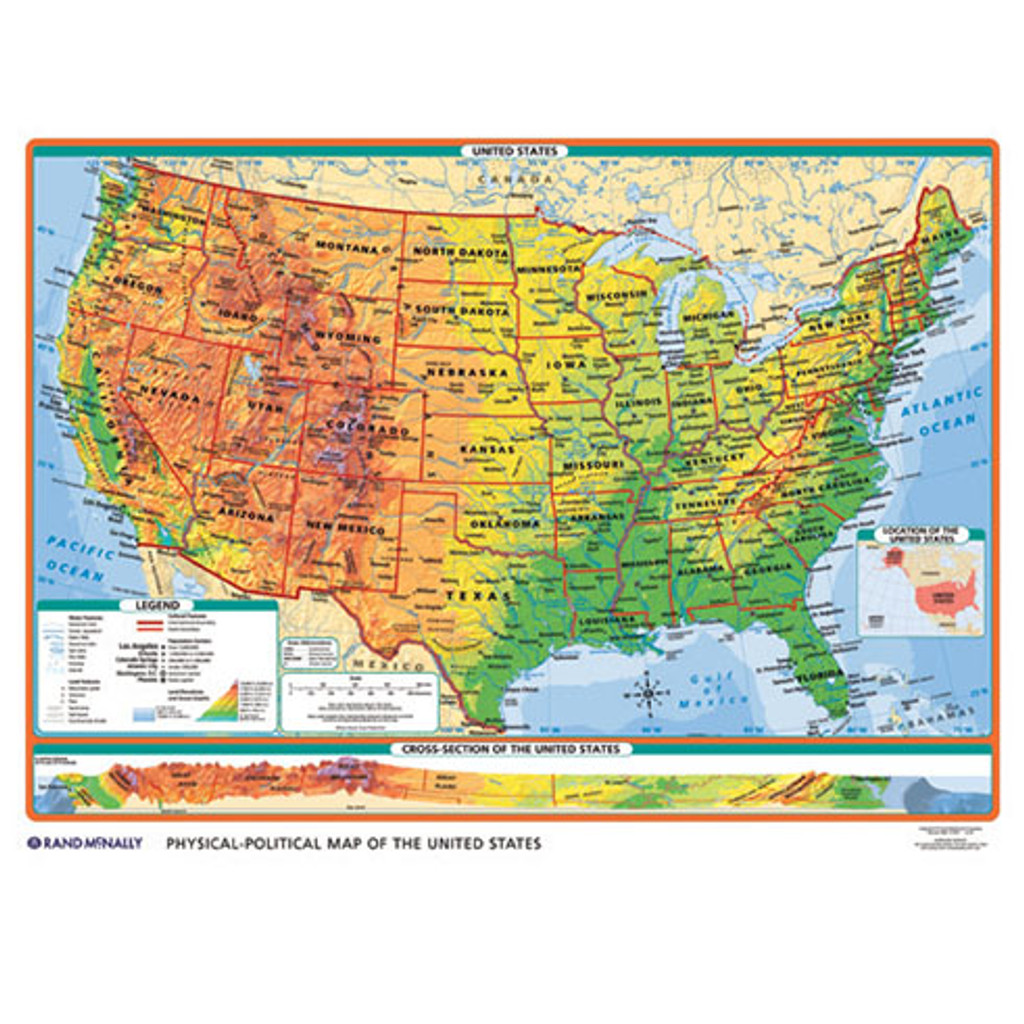 PhysicalPolitical USWorld Desk Map Rand McNally Store - Us world map