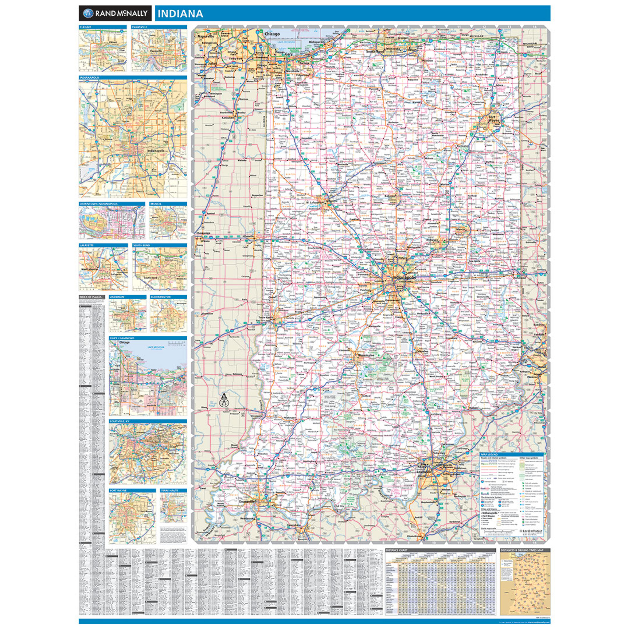 Rand McNally Indiana State Wall Map - Map of state of indiana