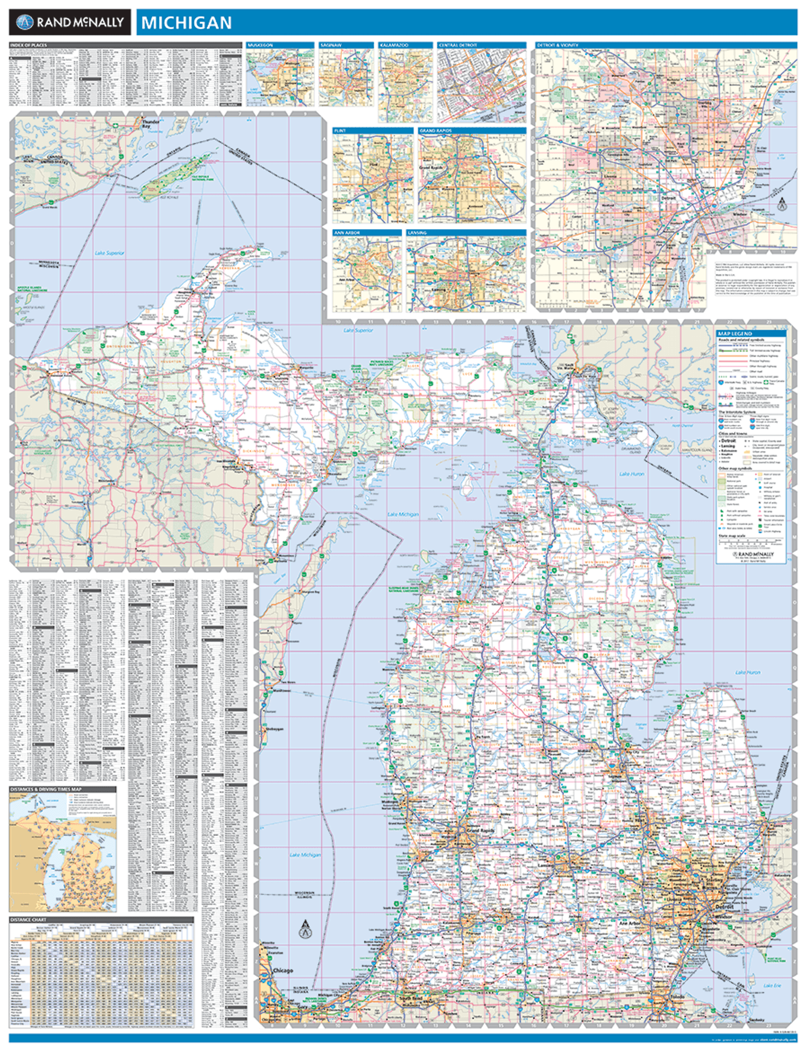 Rand McNally Michigan State Wall Map - State map of michigan