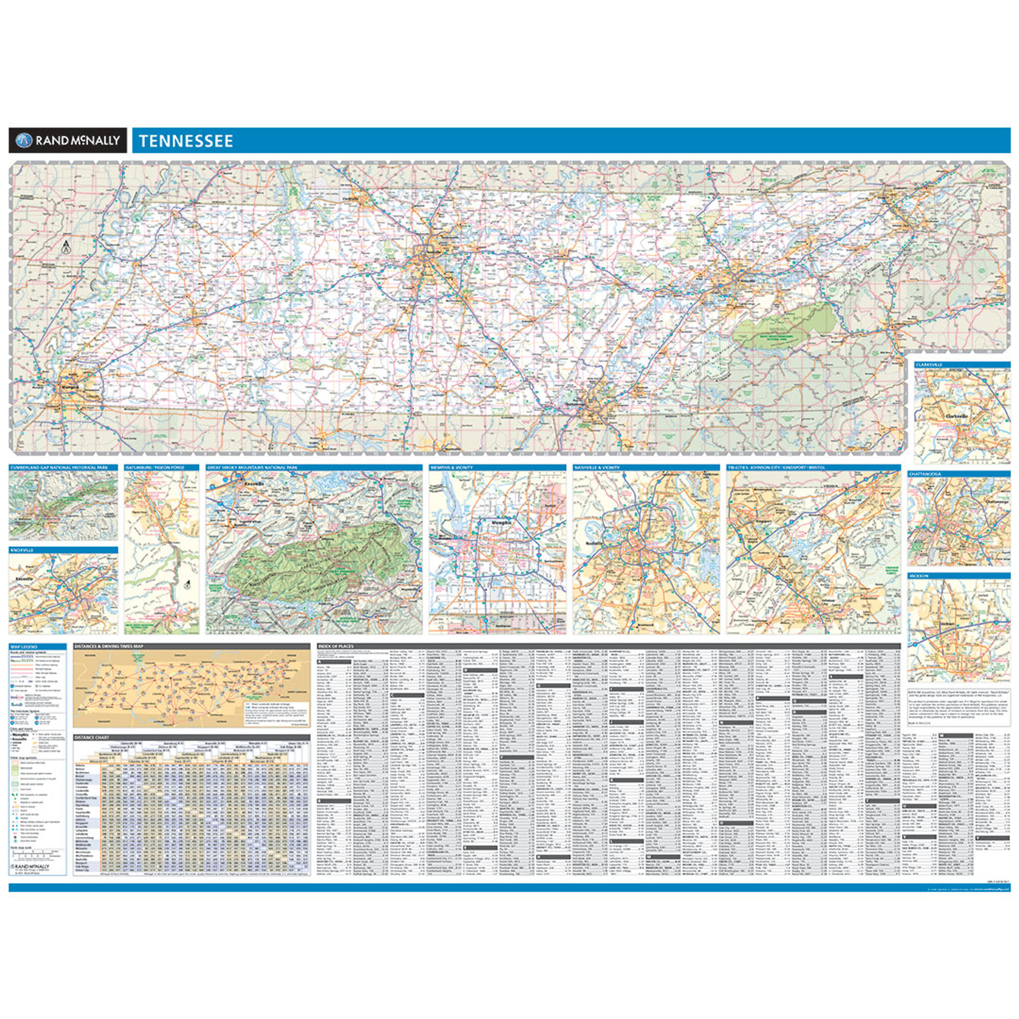 Rand McNally Tennessee State Wall Map - Map of the state of tennessee