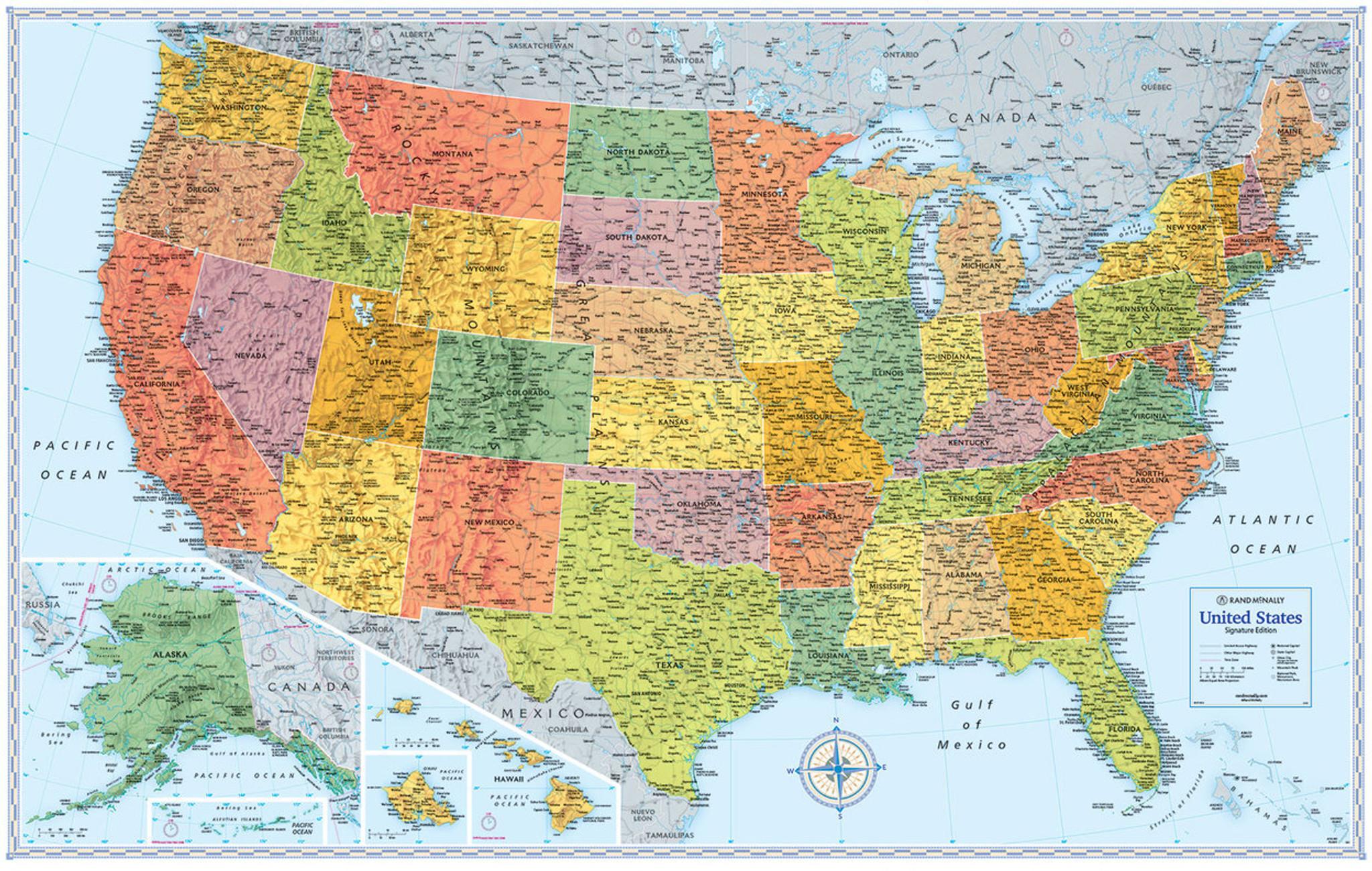 Signature Edition US Wall Maps Rand McNally Store - Us map stencil