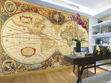 Antique World Map Wall Mural Part 55
