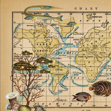 """""""Ocean Currents"""" Lithograph Wall Map"""