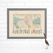 """Adventure Awaits"" Lithograph Wall Map"